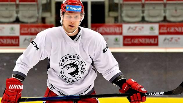 Petr Vrána na prvním tréninku v Třinci.