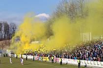 Frýdek doma porazil před zaplněným stadionem ostravský Baník 2:1 .