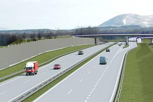 Vizualizace nového mimoúrovňového křížení na dálnici D48 mezi Frýdkem-Místkem a Českým Těšínem, a to u průmyslové zóny v Nošovicích.