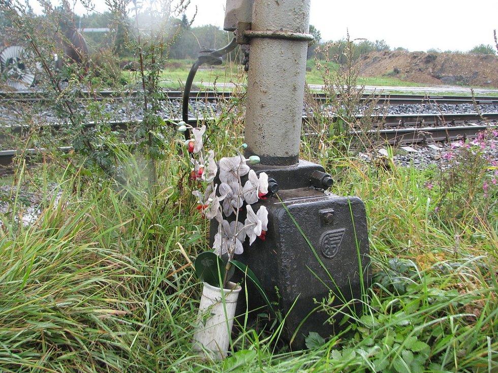 Železniční přejezd v Bystřicí nad Olší. Měsíce po tragické nehodě hořely u signalizačního zařízení svíčky a na místě bylo mnoho květin. Neštěstí dnes připomíná tato květina.