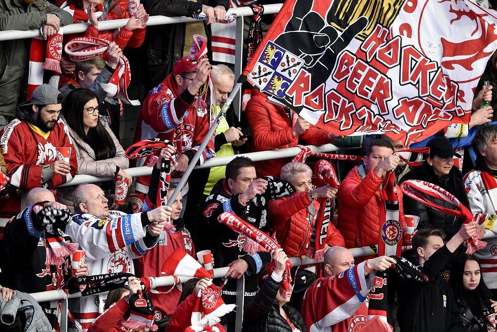 46. kolo hokejové extraligy mezi HC Oceláři Třinec - HC Vítkovice Ridera v Třinci dne 16. února 2020. Fanoušci třince.