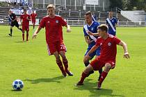 Třetiligoví fotbalisté MFK Frýdek-Místek (v modrém) porazili v úvodním kole rezervní celek prvoligové Sigmy Olomouc 3:1.