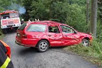 Zásah hasičů u nehody pod Prašivou.