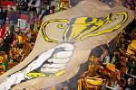 Exhibiční utkání legend v repríze finále z roku 1998 mezi HC Železárny Třinec - Petra Vsetín, 8. listopadu 2019 v Třinci.