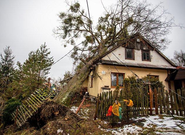 Silný vítr zlomil strom, který spadl na střechu rodinného domu, 10.února 2020vMorávce.