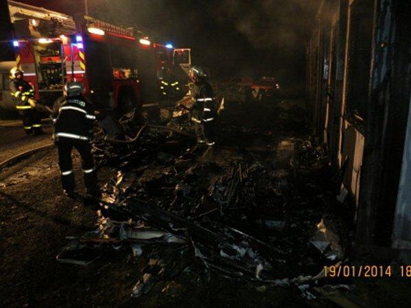 Požár vDolních Domaslavicích.
