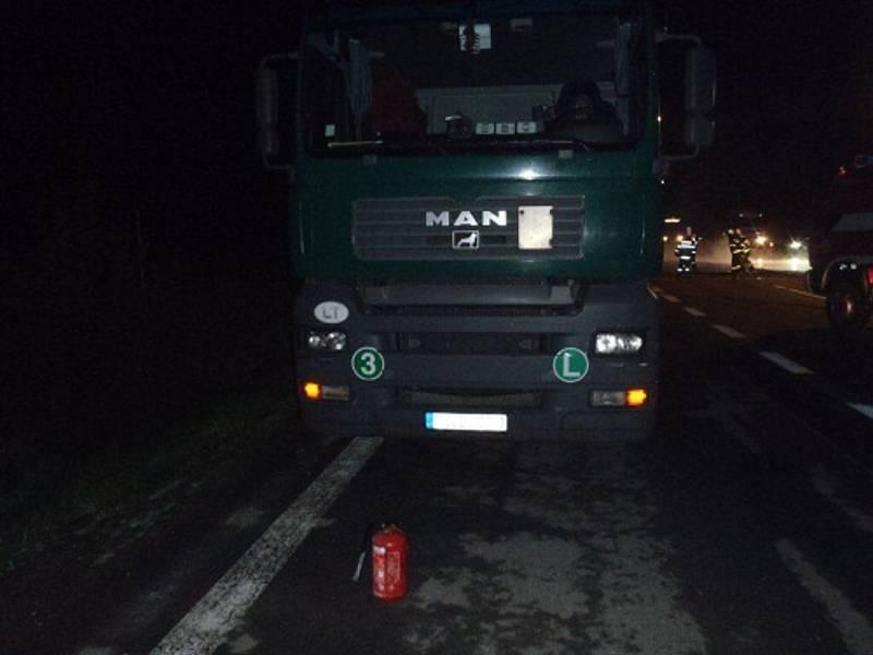 Požár kamionu kamion v Hukvaldech-Rychalticích.
