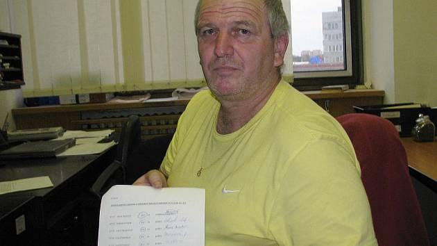 Ladislav Tomis drží žádost z března 2004. Jde o jmenný seznam zájemců o odkoupení šesti městských bytů. Je jich zde šest.