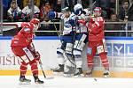 Brno 28.1.2020 - domácí HC Kometa Brno (bílá) proti HC Oceláři Třinec (červená)