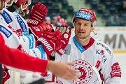 Utkání 45. kola Tipsport extraligy ledního hokeje se odehrálo 30. ledna v liberecké Home Credit areně. Utkaly se celky Bílí Tygři Liberec a HC Oceláři Třinec. Na snímku je Martin Adamský.