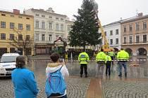 Lidé si ukotvení vánočního stromu fotili i natáčeli.