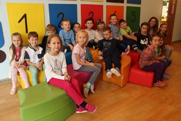 Na snímku jsou prvňáčci ze třídy 1.C vDobré. Třídní učitelkou je Kateřina Dobešová.