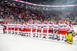 Exhibiční utkání legend v repríze finále z roku 1998 mezi HC Železárny Třinec - Petra Vsetín, 8. listopadu 2019 v Třinci. Zleva HC Železárny Třinec.