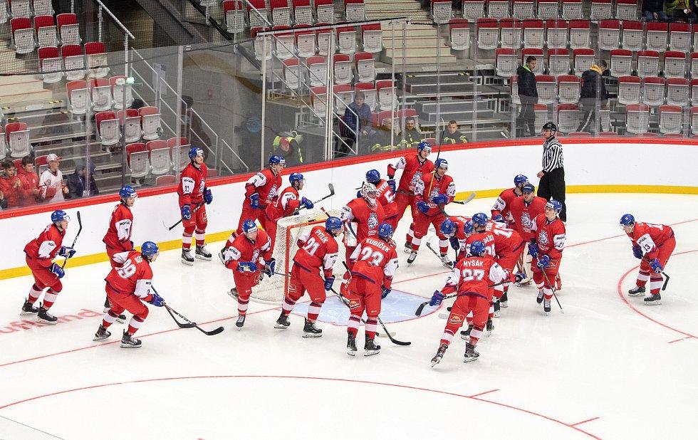 Přípravný zápas před MS U20 Česká republika - Slovensko, 22. prosince 2019 v Třinci. Na snímku tým České republiky.