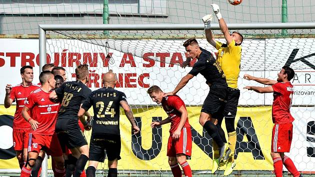Třinečtí fotbalisté (v červeném) remizovali s Brnem 1:1.