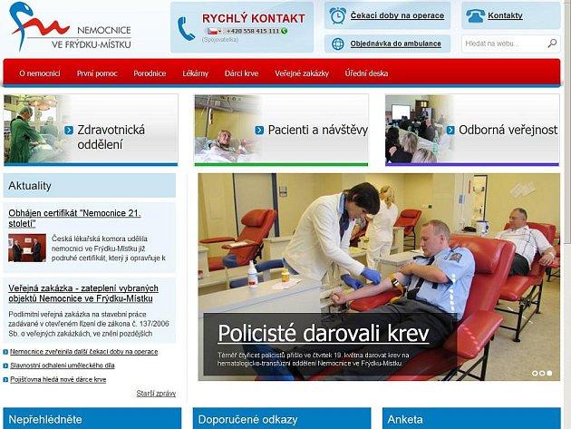 Nové webové stránky nemocnice.