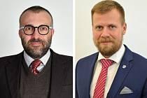 Vlevo na snímku nový primátor FM Petr Korč, vpravo Michal Pobucký.