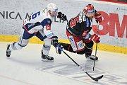 Finále play off hokejové extraligy - 2. zápas: HC Oceláři Třinec vs. HC Kometa Brno, 15. dubna 2018 v Třinci. Krejčík Jakub a Marcinko Tomáš.