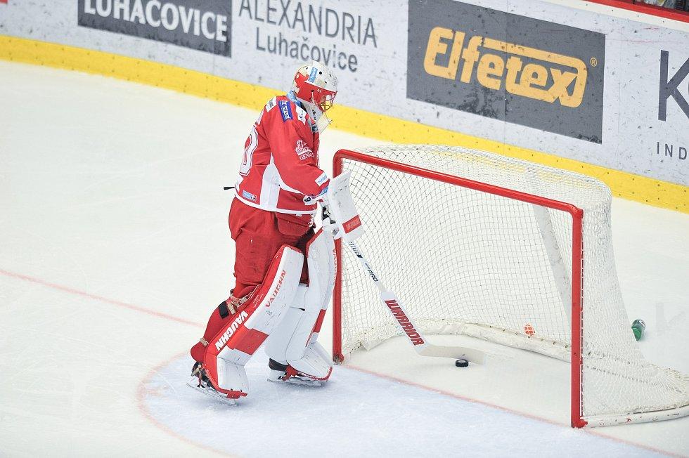 Utkání 14. kola hokejové extraligy: HC Oceláři Třinec vs. HC Kometa Group, 17. října 2017 v Třinci. Hrubec Šimon.