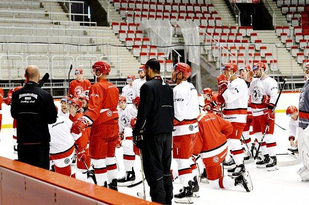 Trénink na ledě je pro hokejisty podstatný.