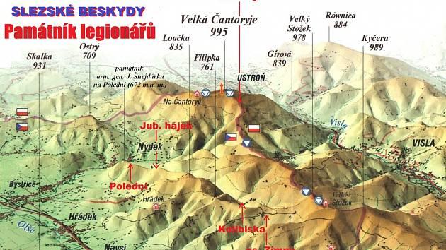 Mapa památníku legionářů.