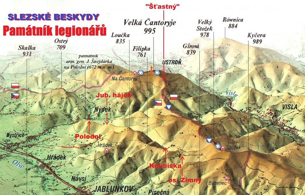Mapa památníků legionářů.