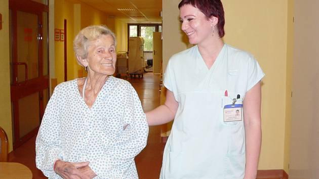 Helena Hercová v Nemocnici Podlesí.