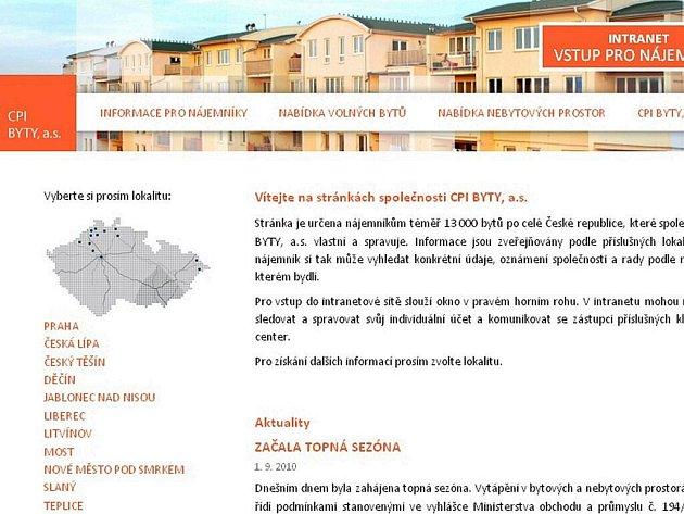 Nové webové stránky společnosti CPI Byty.