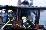 Požář chatky v Šenově.