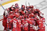Semifinále play off hokejové Tipsport extraligy - 7. zápas: HC Oceláři Třinec - BK Mladá Boleslav, 15. dubna 2021 v Třinci. Radost Třince.