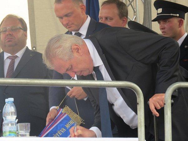Prezident Miloš Zeman vJablunkově.