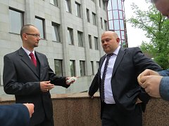 Šéf Sportplexu Petr Slunský (na snímku vlevo). Vedle něj stojí podnikatel Lukáš Vích.