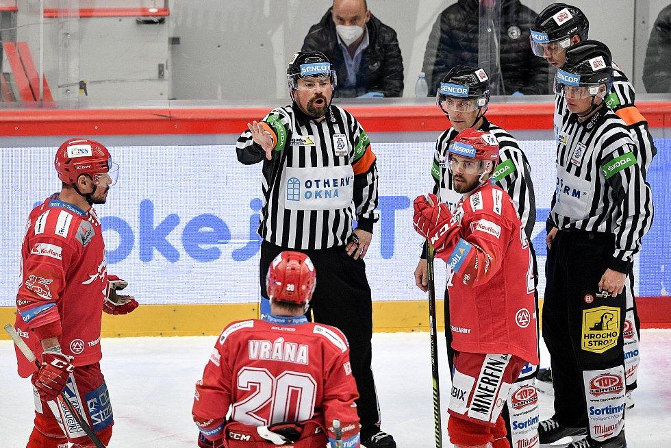 Semifinále play off hokejové Tipsport extraligy - 7. zápas: HC Oceláři Třinec - BK Mladá Boleslav, 15. dubna 2021 v Třinci.