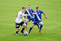 Na jaře odehráli fotbalisté MFK Frýdek-Místek (v modrém) čtyři zápasy a ani v jednom z nich nedostali gól. Naposledy Valcíři porazili v domácím prostředí Rýmařov 1:0.