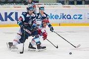 Utkání 45. kola Tipsport extraligy ledního hokeje se odehrálo 30. ledna v liberecké Home Credit areně. Utkaly se celky Bílí Tygři Liberec a HC Oceláři Třinec. Na snímku vlevo je Dominik Lakatoš.