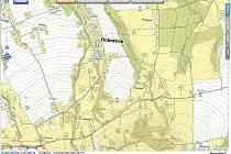 Katastrální mapa obce Dobratice.