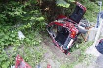 Vážná dopravní nehoda se stala v Beskydech na Mezivodí, poblíž obce Dobrá.