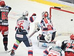 Čtvrtfinále play off hokejové extraligy - 4. zápas: HC Oceláři Třinec - HC Dynamo Pardubice, 21. března 2018.