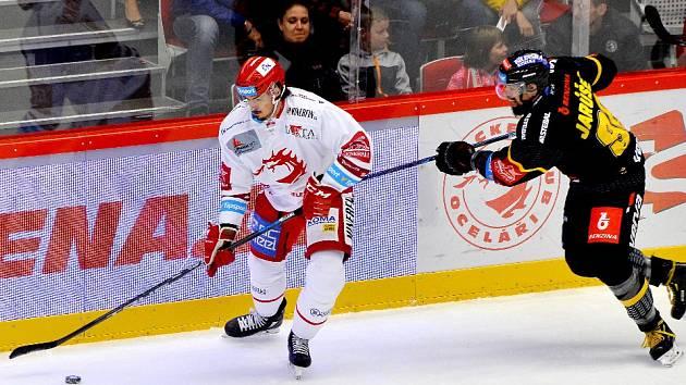 Matěj Stránský (vlevo) dal svůj první gól v české lize. V Rusku a Švédsku jich nastřílel několik.