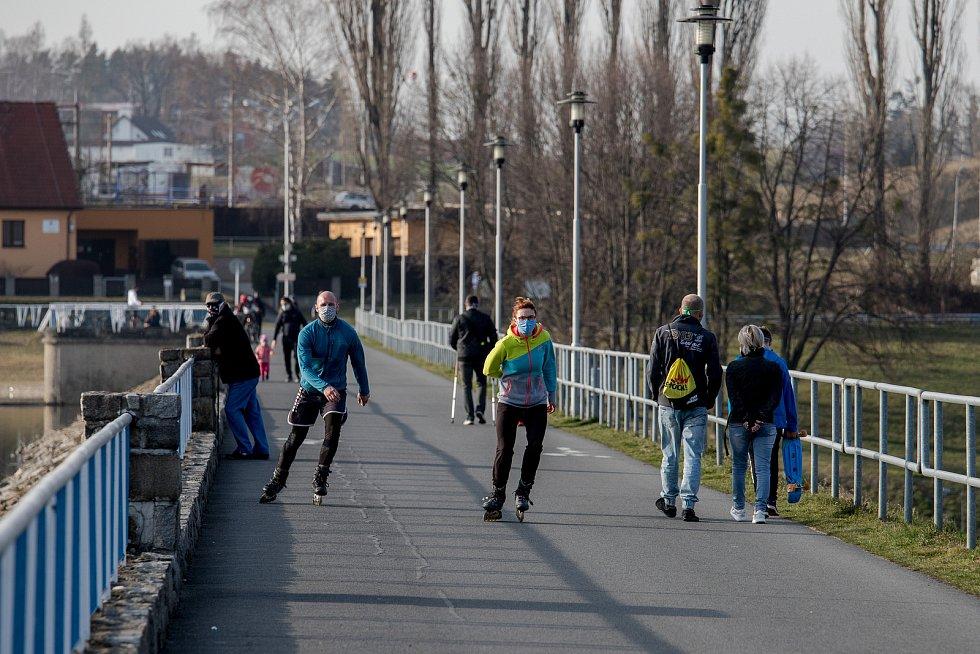 Přehrada Olešná, 27. března 2020 ve Frýdku-Místku.