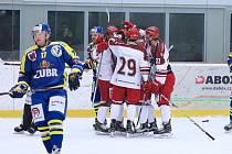 Frýdečtí hokejisté se radují z jedné ze vstřelených branek.