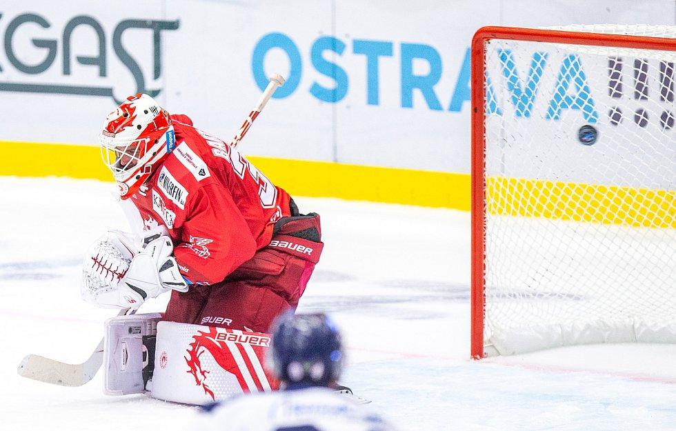 Utkání 33. kola hokejové extraligy: HC Vítkovice Ridera - HC Oceláři Třinec, 17. září 2019 v Ostravě. Brankář Třince Patrik Bartošák.