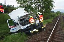 Zásah hasičů u nehody v Bašce.