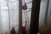 Záchrana paraglidistky ze stromu pod Javorovým vrchem v Beskydech.