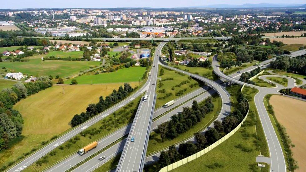Vizualizace trasy obchvatu poblíž přehrady Olešná.