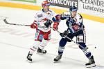 Hokejové derby bylo v neděli na programu v třinecké Werk Areně. Domácí Oceláři (v bílém) hráli s Vítkovicemi.