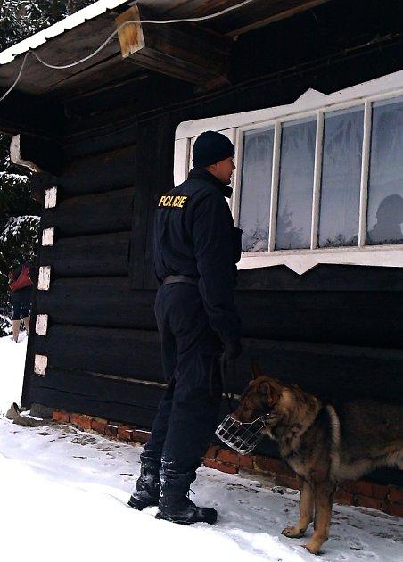 Policista se psem právě kontroluje chatu vMorávce.