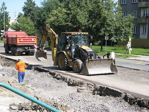 Oprava ulice Lidická v Třinci.