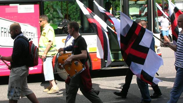 Protestní shromáždění za svobodu Ernsta Zündela a svobodu přesvědčení s pochodem organizovali příznivci hnutí Národní korporativismus.