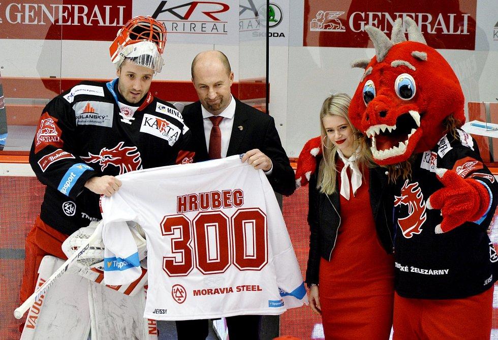 Šimon Hrubec odchytal 300. utkání v dresu Ocelářů.